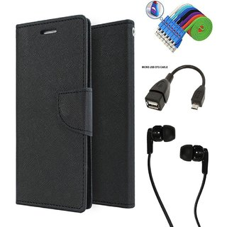 Wallet Flip Case Back Cover For Reliance Lyf Flame 3  -Black With Champ Earphone(3.5mm jack) + Micro USB OTG Cable + Usb Smiley Cable Combo Set