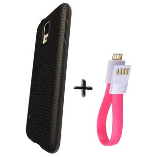 Soft Black Dotted Back Cover Black For GIONEE F103 PRO  With Slim Magnet Micro USB Cable