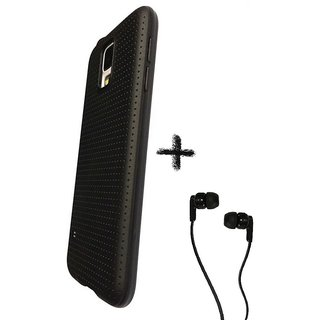 Soft Black Dotted Back Cover Black For Samsung J5(2016)  With RAAG Champ Earphone with Mic