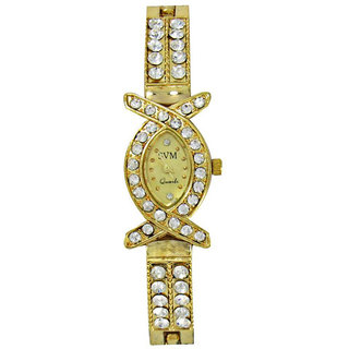 ASHIKA Gold Diamond Analog Women Watch