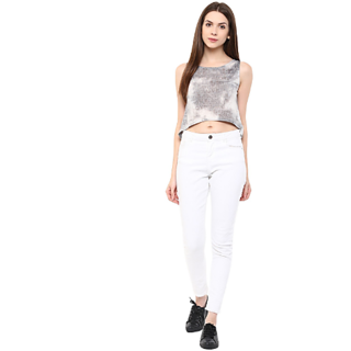 a610735740a451 Buy FASHION FLAVOR WOMEN  S GREY CROP TOP Online   ₹995 from ShopClues