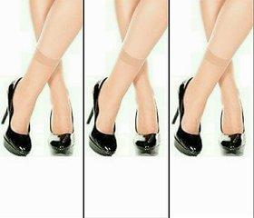 Ultra Thin Transparent Skin Color Socks/Stockings - Pack of 3 pairs