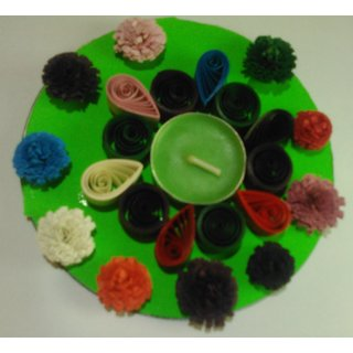 Paper quilling diwali diya candle holder with scented profumate candle multicolour green base