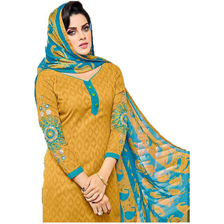 Neeti Women's  Dress material with Embroidery(PP0003Fireyellow)