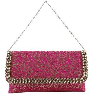 Femethnic unique Brocade Designer Pink clutch
