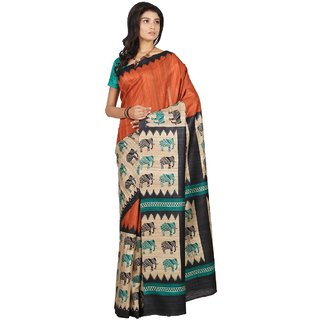 Silk Only Multicolor Tussar Silk Block Print Saree With Blouse
