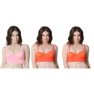 Bahucharaji Orange & Pink Plain Push-Up Bra