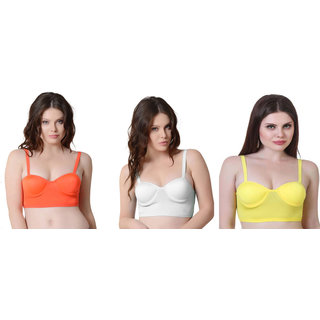 Bahucharaji Orange & White Plain Push-Up Bra