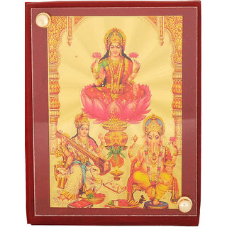 Leganza Ganesh Laxmi Saraswati Car Dashboard Idol in Gold Plating with Brown base