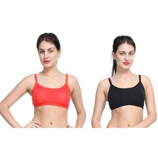 Bahucharaji Black & Red Plain Sports Bra