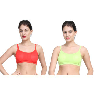 Bahucharaji Green & Red Plain Sports Bra
