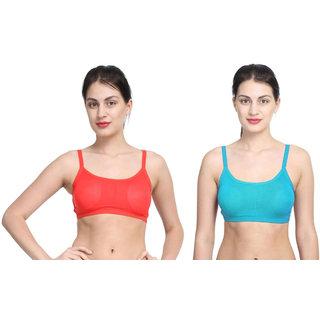 Bahucharaji Blue & Red Plain Sports Bra