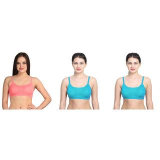 Dealseven Blue & Pink Plain Sports Bra