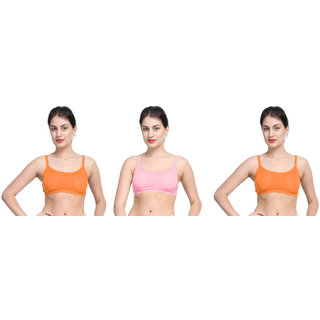 Bahucharaji Orange & Pink Plain Sports Bra