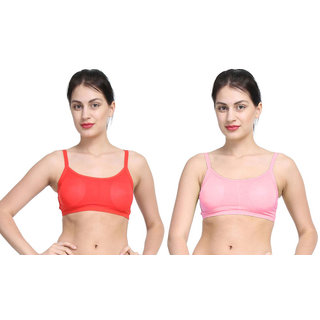 Bahucharaji Red & Pink Plain Sports Bra