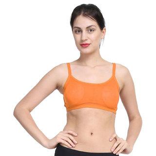 Bahucharaji Orange Plain Sports Bra