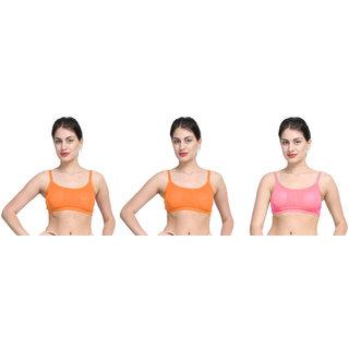 Bahucharaji Orange & Pink Plain Sports Bra
