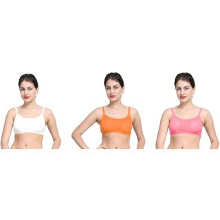 Bahucharaji Beige & Orange Plain Sports Bra