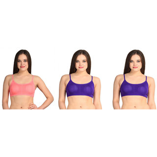 Dealseven Purple & Pink Plain Sports Bra