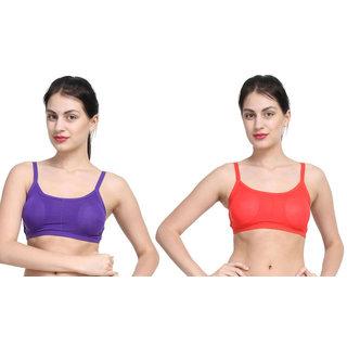 Bahucharaji Purple & Red Plain Sports Bra