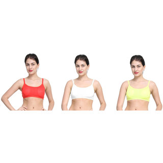 Bahucharaji Red & White Plain Sports Bra