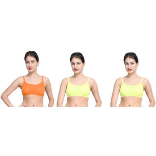 Bahucharaji Orange & Yellow Plain Sports Bra