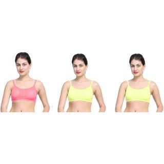 Bahucharaji Pink & Yellow Plain Sports Bra