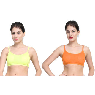 Bahucharaji Orange & Yellow Plain Sports Bra
