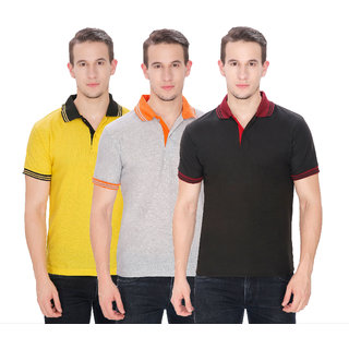 Baremoda Multicolor Plain Half Sleeves Polo T-Shirts for Men
