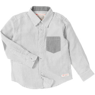 Cotton White Full Sleeve Shirts With Grey Stripes