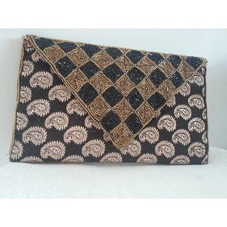 black brocade clutch