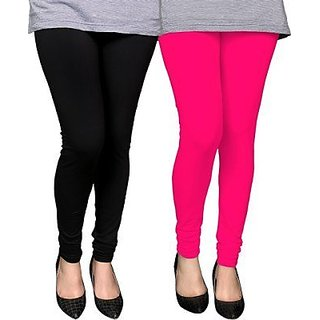 Kriso Black Pink Plain Cotton Lycra Legging