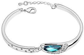 Cyan Silver Plated Silver Alloy Bracelets For Women