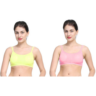 Dealseven Yellow & Pink Plain Sports Bra