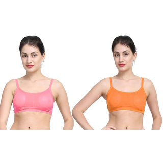 Dealseven Pink & Orange Plain Sports Bra