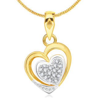 Vidhi Jewels Glittering Gold Plated Alloy Heart Pendant for Women VP140G
