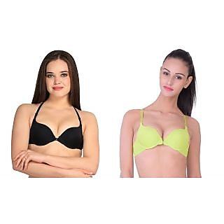 Dealseven Black & Yellow Plain Front Open Bra