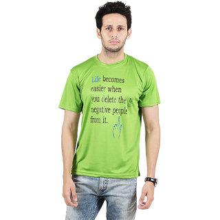 SSAK Green Round Neck Half Sleeve Regular Fit T-Shirt