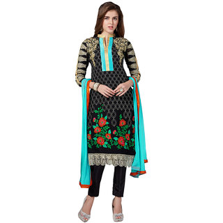 The Ethnic Chic Black Patch Work Georgette Suit