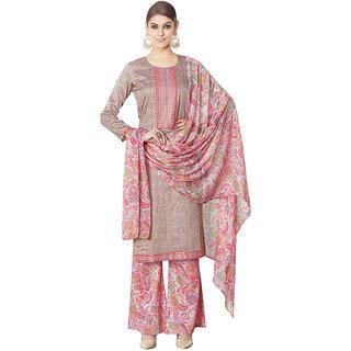 The Ethnic Chic Beige Digital Print Satin&Cotton Dress Material