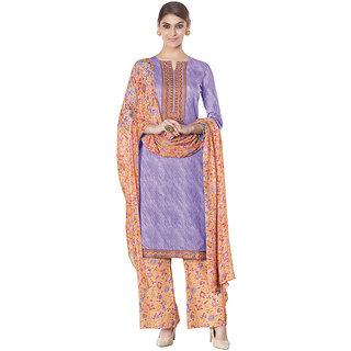 The Ethnic Chic Purple Digital Print Satin&Cotton Dress Material