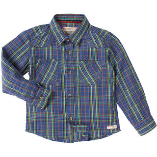 Cotton Blue Stripes F/S Shirts With Front Two Pockets