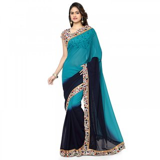 Florence Blue Georgette Saree