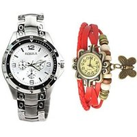 D2D Rosra Analog Watch In Silver For Men AND Red Butterfly For Women