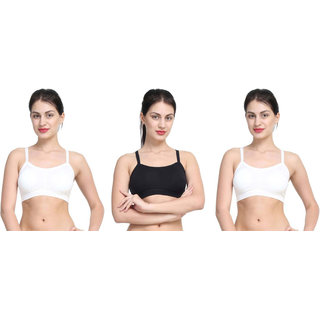 Dealseven Black & White Plain Bralette Bra