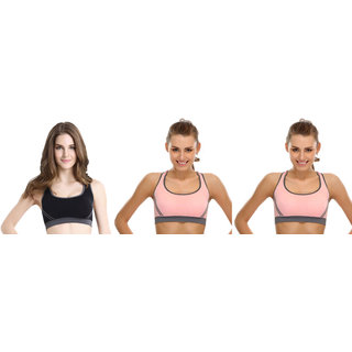 Dealseven Black & Pink Plain Sports Bra