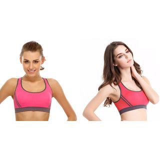 Dealseven Pink  Orange Plain Sports Bra