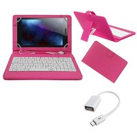 7inch Keyboard For Lava E-tab Z7C+ Tablet- Pink With OTG Cable By Krishty Enterprises