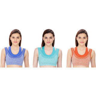 Dealseven Blue & Orange Plain Sports Bra