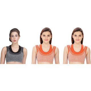 Dealseven Black & Orange Plain Sports Bra